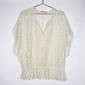 Anthropologie Language White Lace Top
